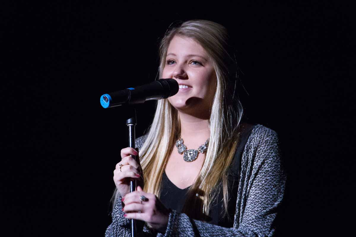Former Mizzou Idol winner Carley Eslick performs an opening song to kick off Mizzou Idol 2016. Photo by Casey Scott.