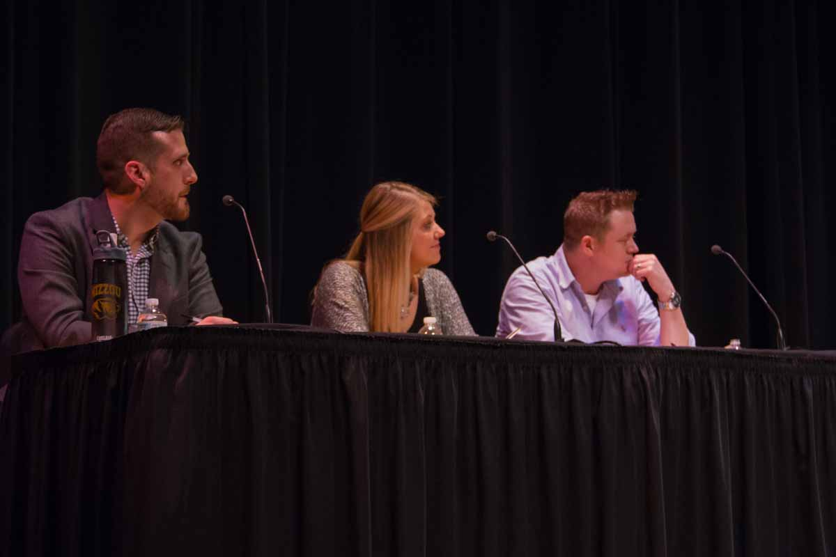 Judges Ryan Gavin, left, Carley Eslick, center, and Tim Hanson, right, introduce the qualities they are looking for in each contestant's performance for Mizzou Idol 2016. Photo by Casey Scott.