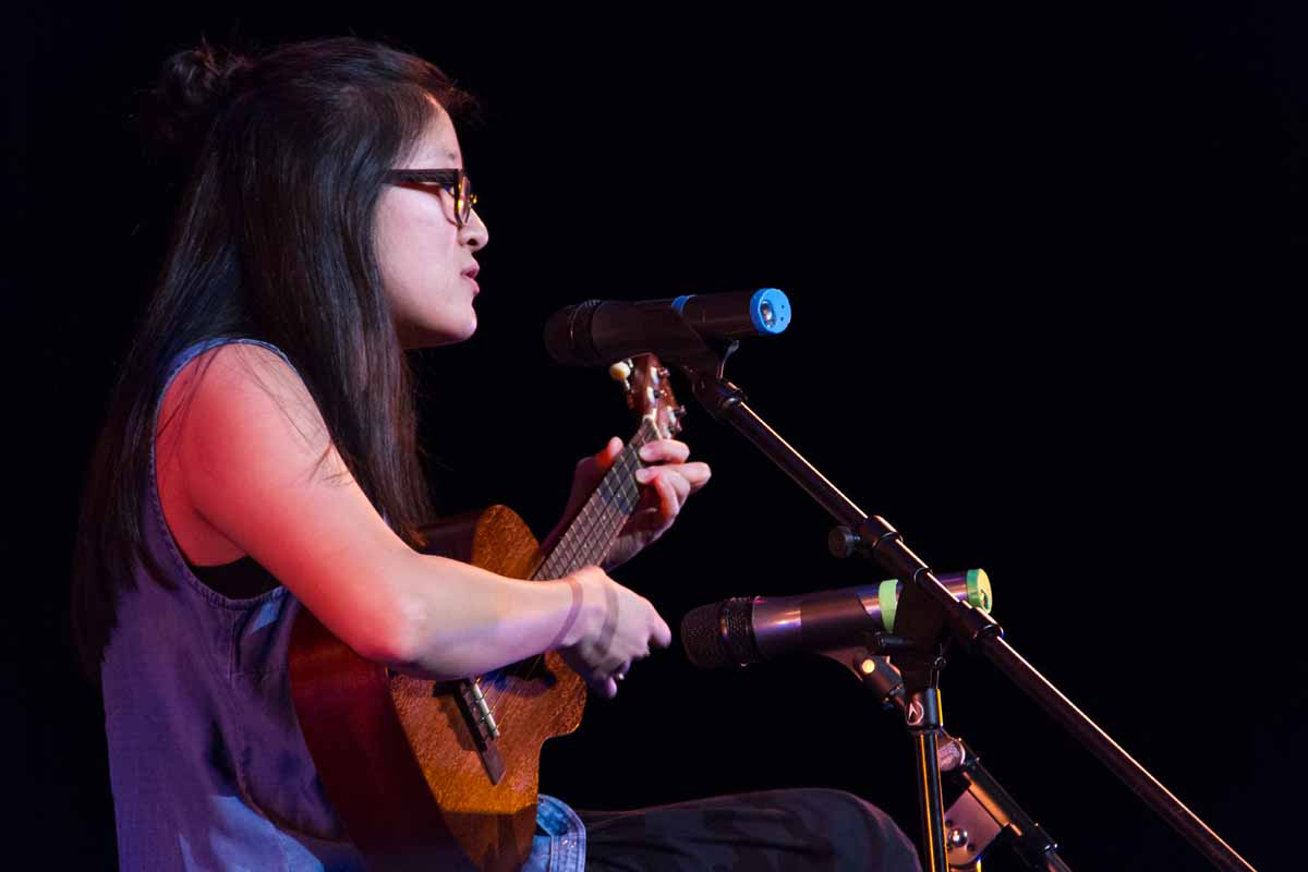 Mizzou Idol wildcard winner Jasmine Lim peforms with her ukulele for the final round of the competition. Photo by Casey Scott.