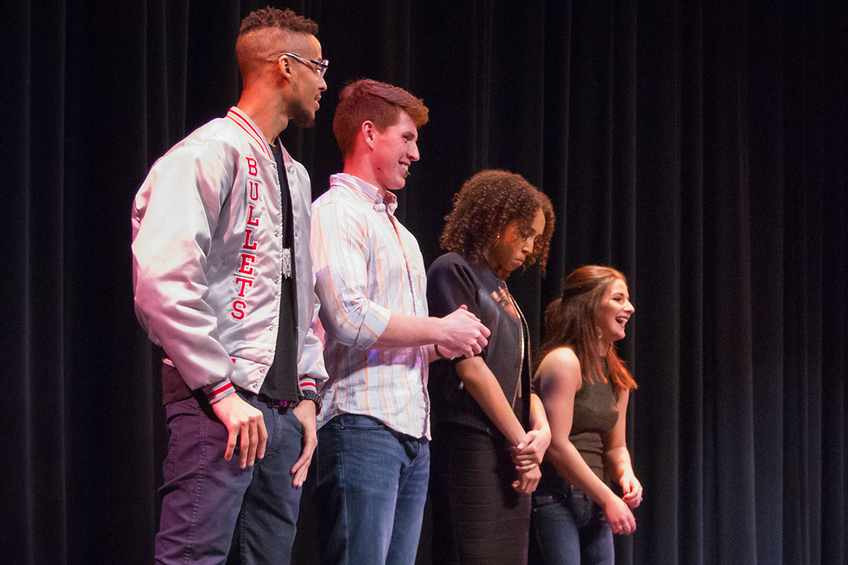 Four finalists await the result of the voting to see who will win Mizzou Idol 2016. Photo by Casey Scott.