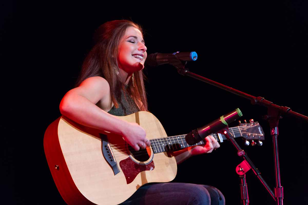 Mizzou Idol winner Breanna Lehane plays her final song of the night after winning Mizzou Idol 2016. Photo by Casey Scott.