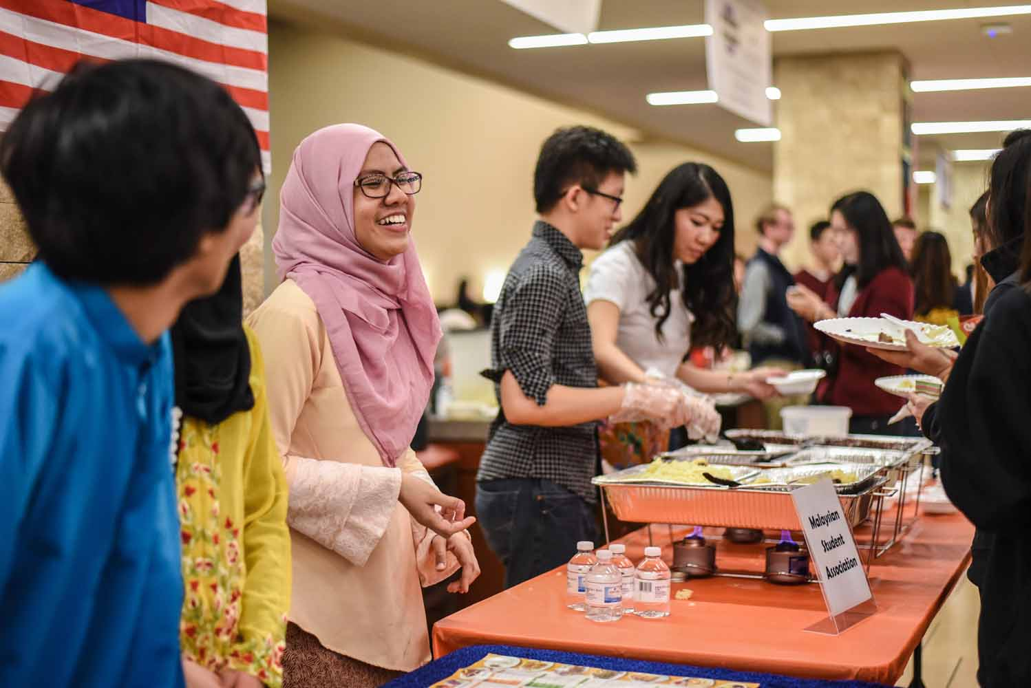 Nasyitah Indra joined several other members of the Malaysian Student Organization at the International Welcome Party on Saturday, February 6, 2016. (Photo by Morgan Lieberman)