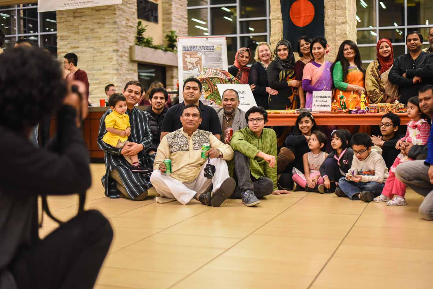 The Bangladesh Student Association joined together for a group picture at the International Welcome Party at the MU Student Center on Saturday, Feb. 6, 2016. (Photo by Morgan Lieberman)