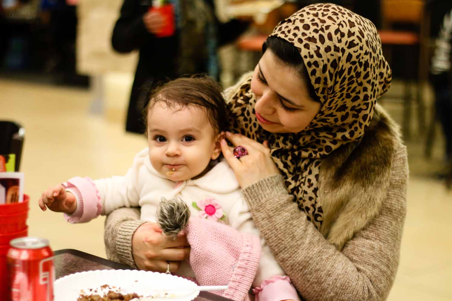 Parihan and Leila Zahra spend time with family and friends at the International Welcome Party. Photo by Hanna Yowell.