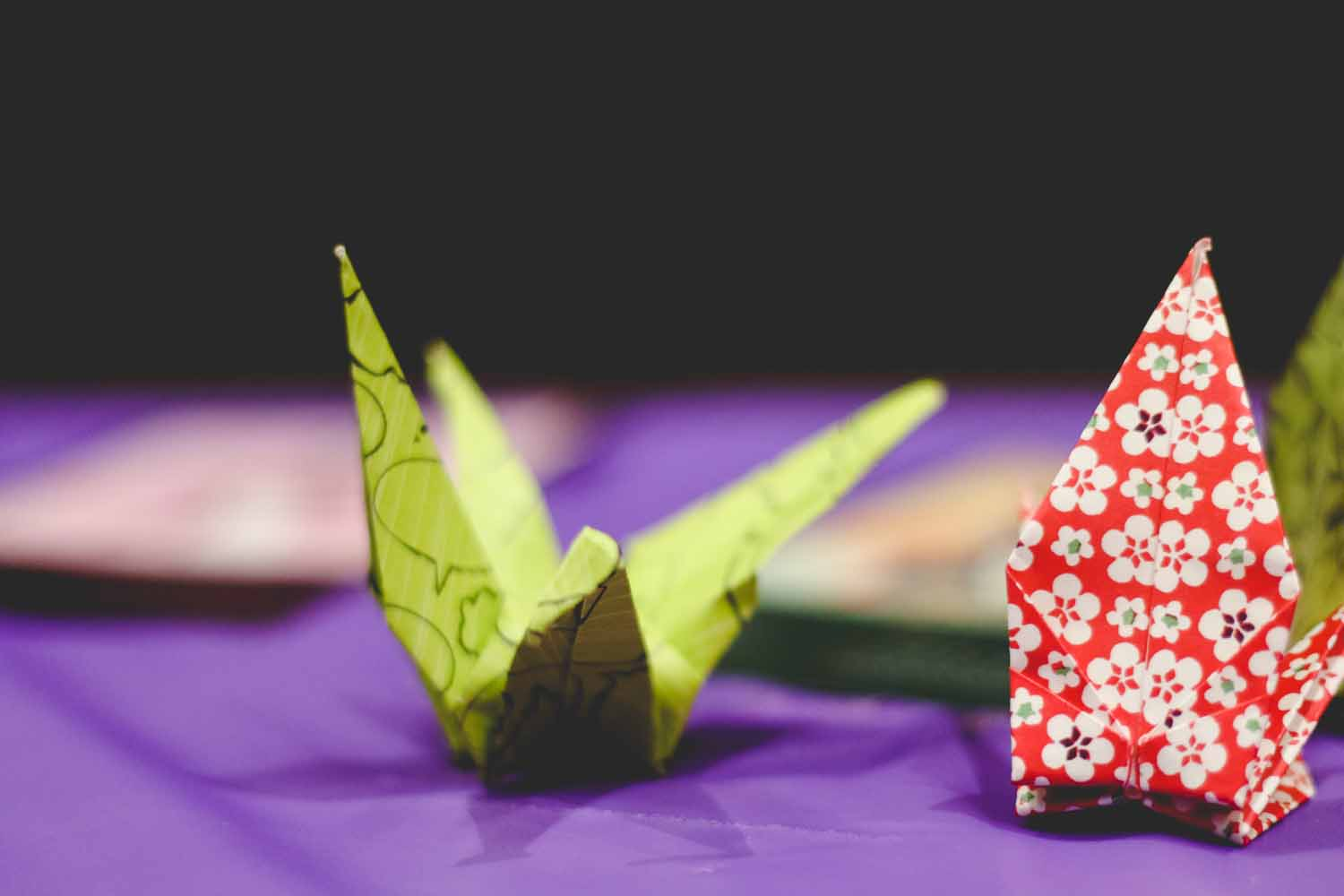 Japanese origami paper crane were on display. Photo by Hanna Yowell.
