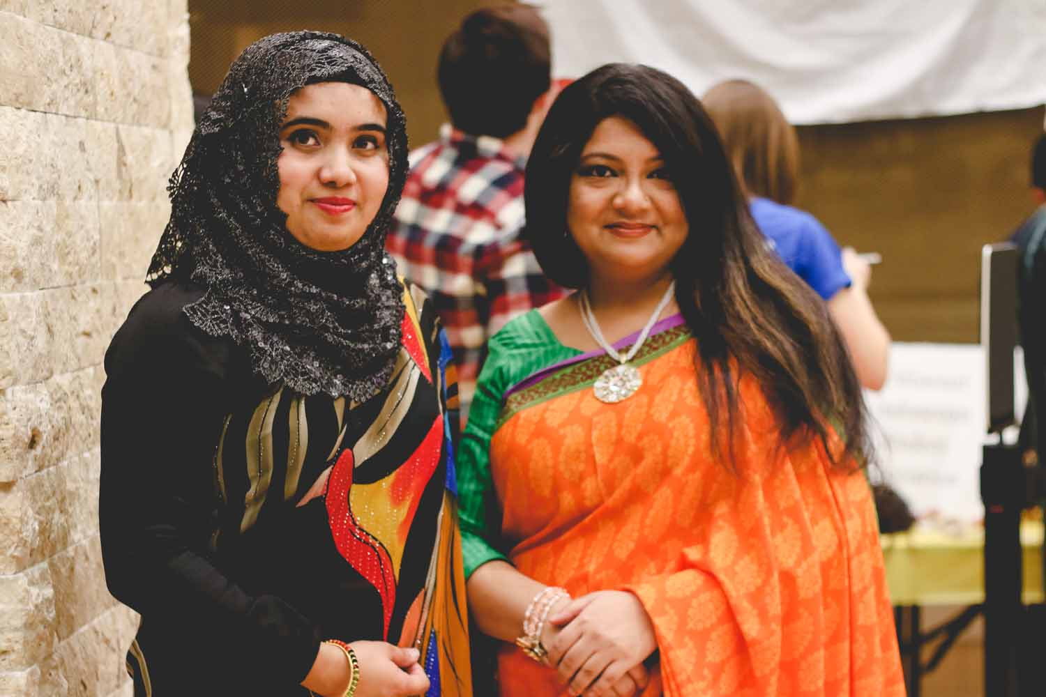 Sadia Aketer and Mouly Shahreen pose for a photo at the International Welcome Party. Photo by Hanna Yowell.