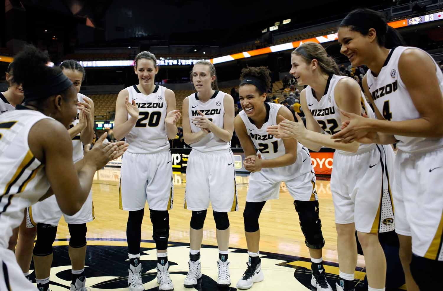 The Mizzou Tigers celebrate together mid-court following the conclusion of their 63-52 win over Alabama Thursday evening, Feb. 11, 2016.