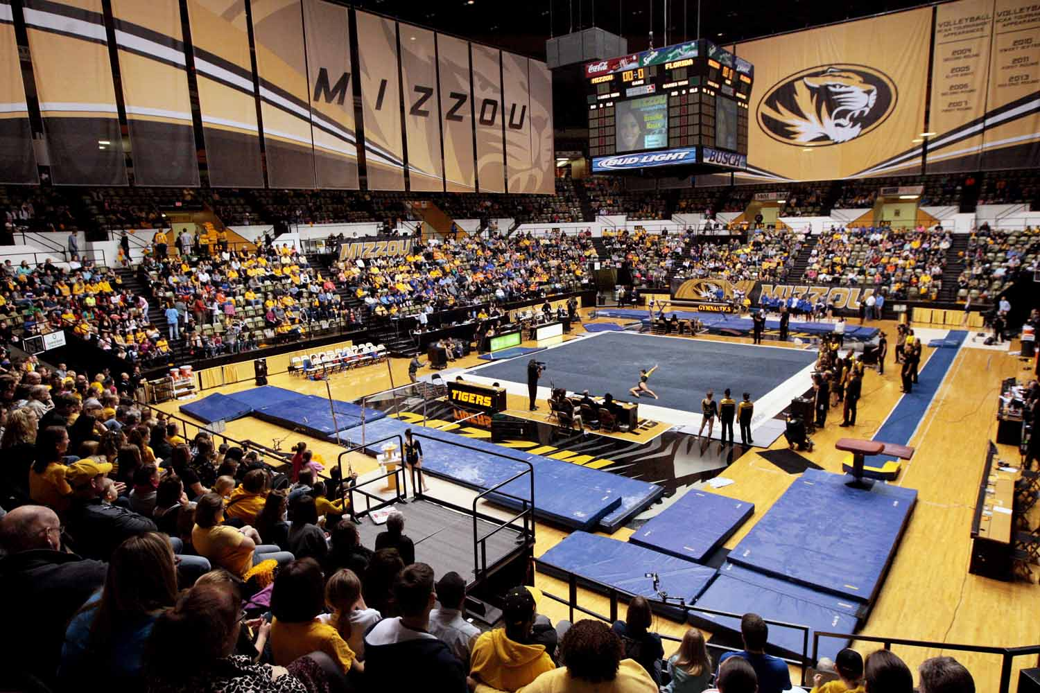 Mizzou freshman Brooke Kelly performs a floor routine at the Hearnes Center during the gymnastics competition against the University of Florida Friday evening, Feb. 19, 2016.