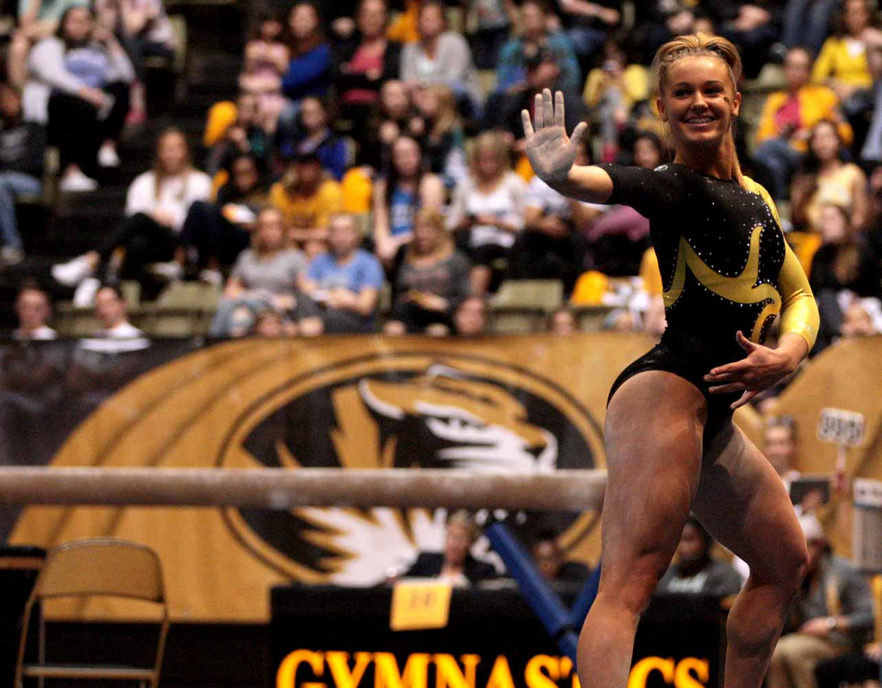 Mizzou freshman Morgan Porter poses during her floor routine performance Friday evening, Feb. 19, 2016 at the Hearnes Center near the end the gymnastics competition against the University of Florida.