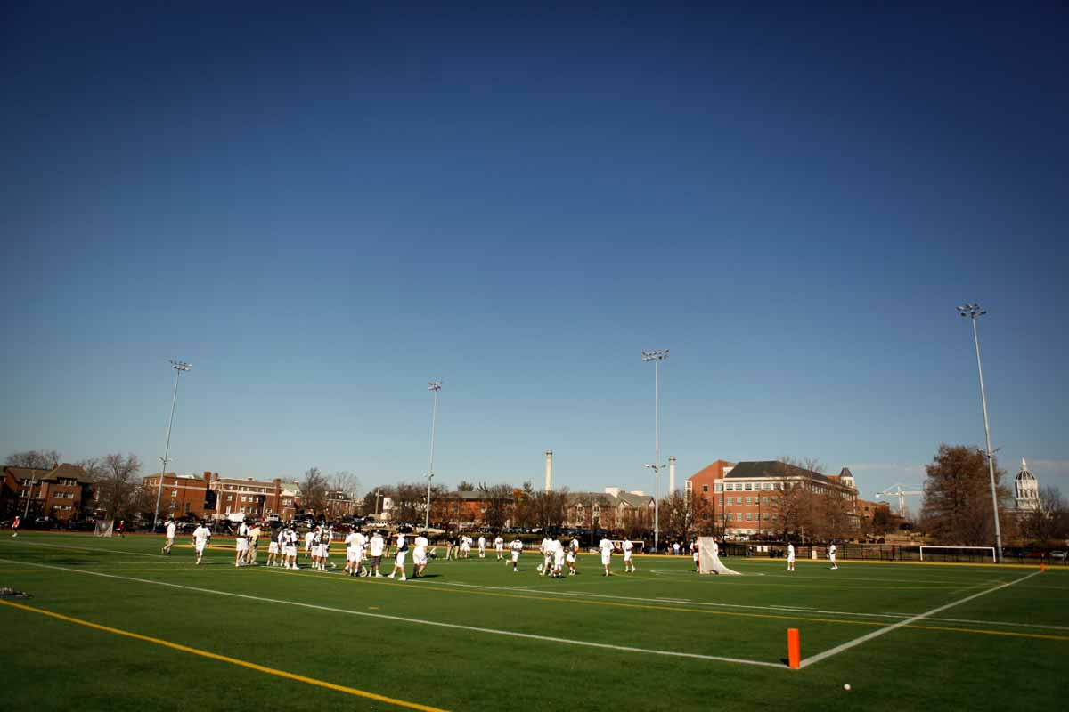 The Mizzou Lacrosse team warms up on Stankowski Field Sunday morning, Feb. 21, 2016, before facing off against Oklahoma State University.