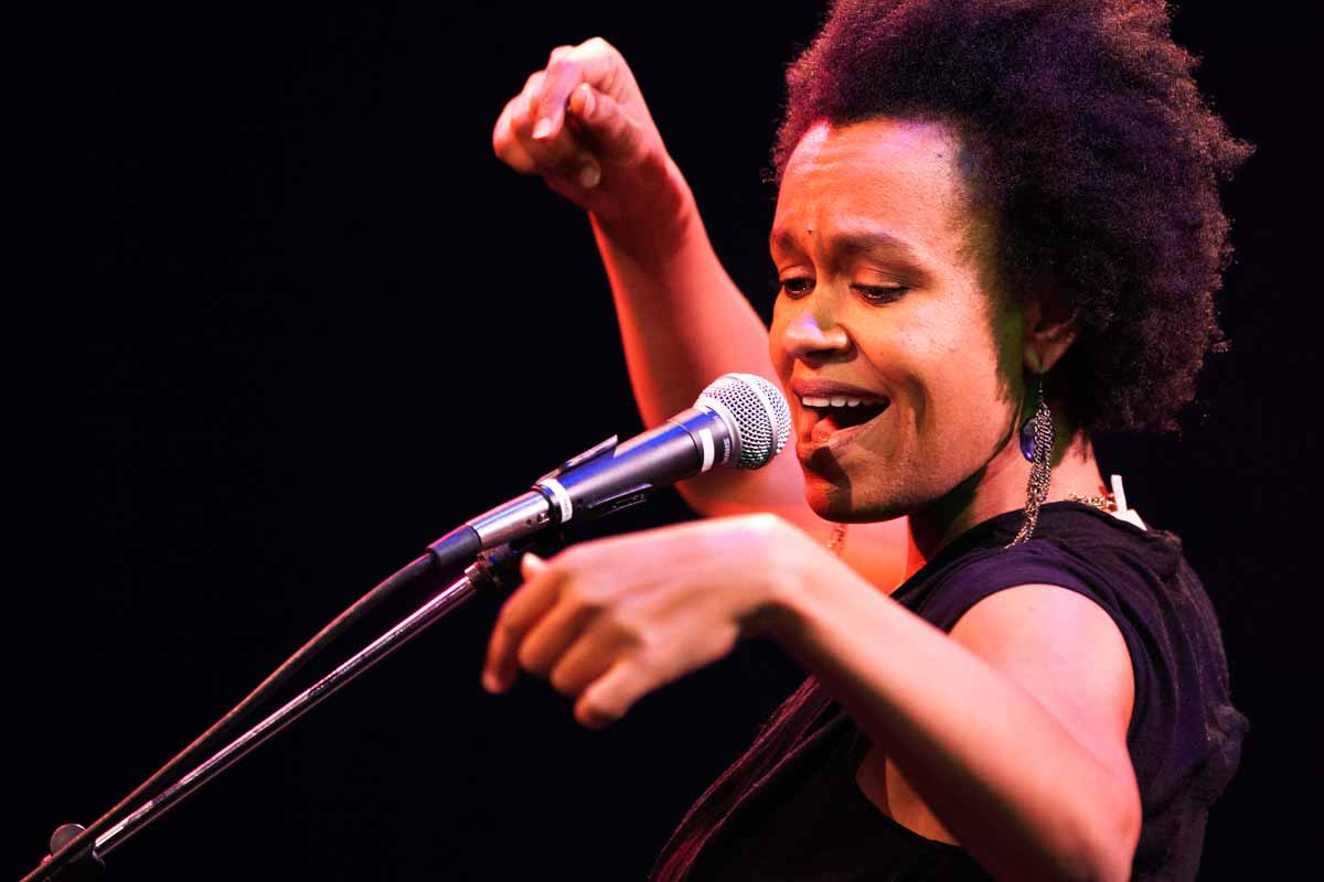 """San-Francisco-based Ethiopian-American artist Meklit Hadero leads her band in a musical performance that highlights the art installation """"Braiding As Sculpture."""""""