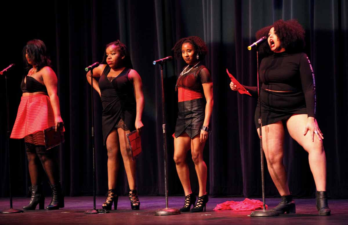 "From left, Eli'Jaah Muhammad, Jasmine Morgan, Alanna Diggs and Brianna Jackson perform the skit ""My Short Skirt"" during the Vagina Monologues Saturday evening, Feb. 27, 2016 in Jesse Auditorium."