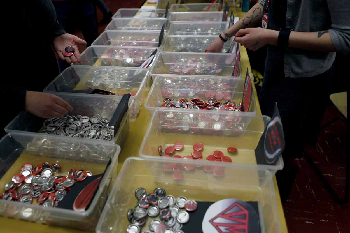 "Buttons reading ""Happy VDay"" and other tokens about the vagina are sold in the lobby of Jesse Hall to raise money and awareness Saturday evening, Feb. 27, 2016."