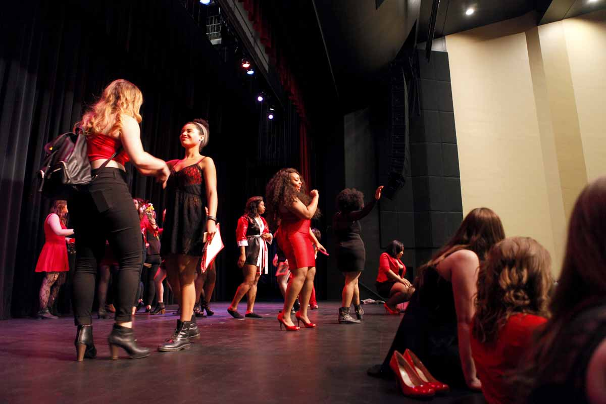 "Actresses of the Vagina Monologues dance on stage to ""Shake It Off"" by Taylor Swift at the conclusion of the show Saturday evening, Feb. 27, 2016 in Jesse Auditorium."