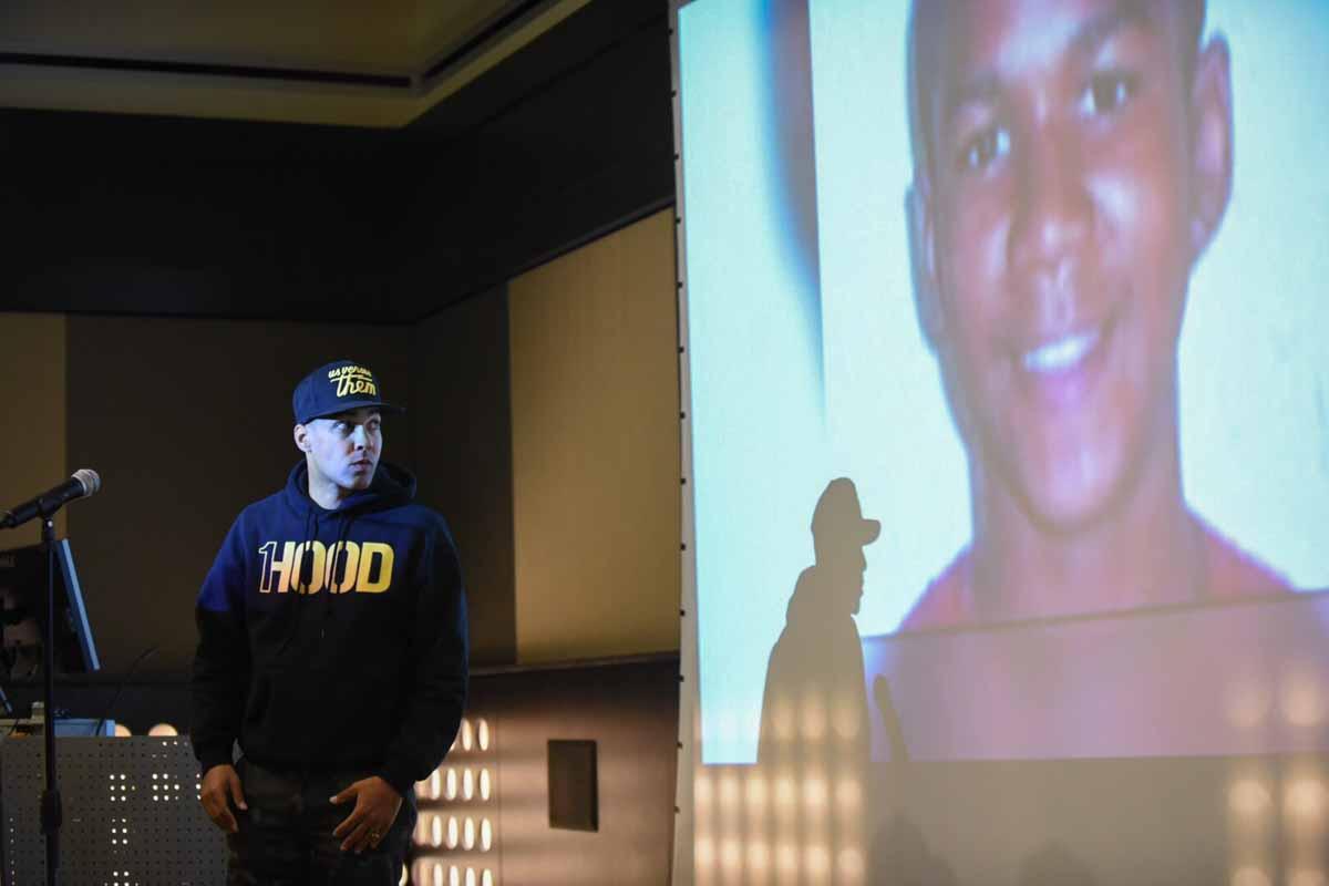 Performance and conversation with hip hop artist/activist Jasiri X on Feb 19, at Leadership Auditorium. Photo by Morgan Lieberman.