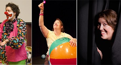 Three images of Heather Carver performing on stage.