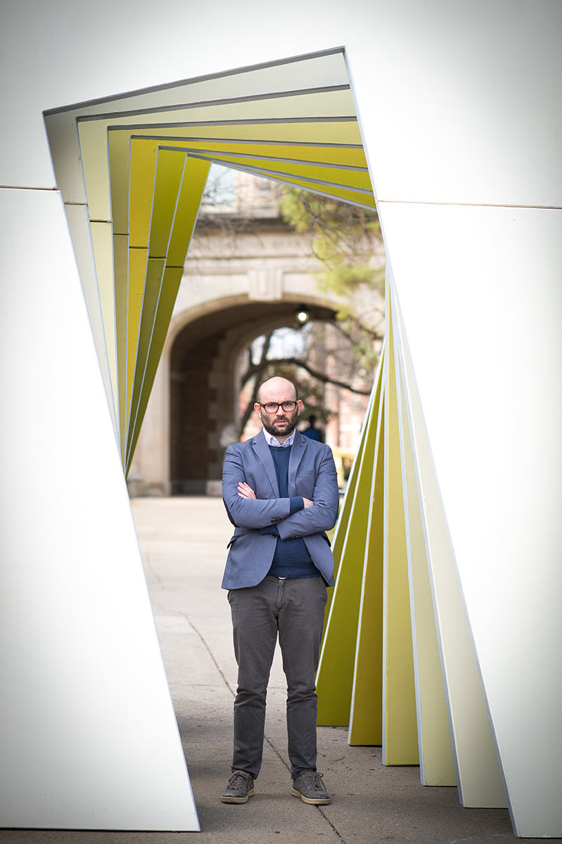 Robert Greene, director of 'Kate Plays Christine,' and filmmaker-in-chief at MU's Murray Center for Documentary Journalism poses under The Tunnel, an immense, mind-bending portal to Jesse Hall. Photo by Shane Epping.