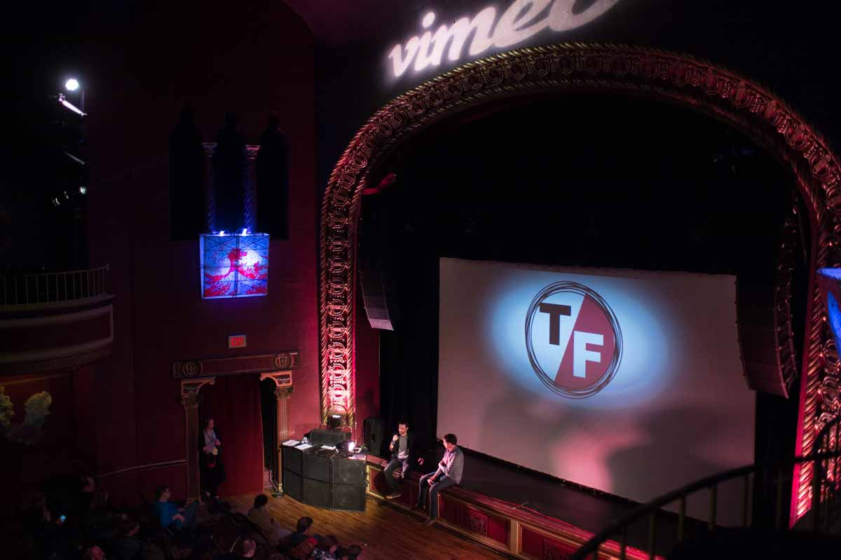 A film director speaks to a full house at the Vimeo Theater at the Blue Note on Friday afternoon. Photo by Shane Epping.