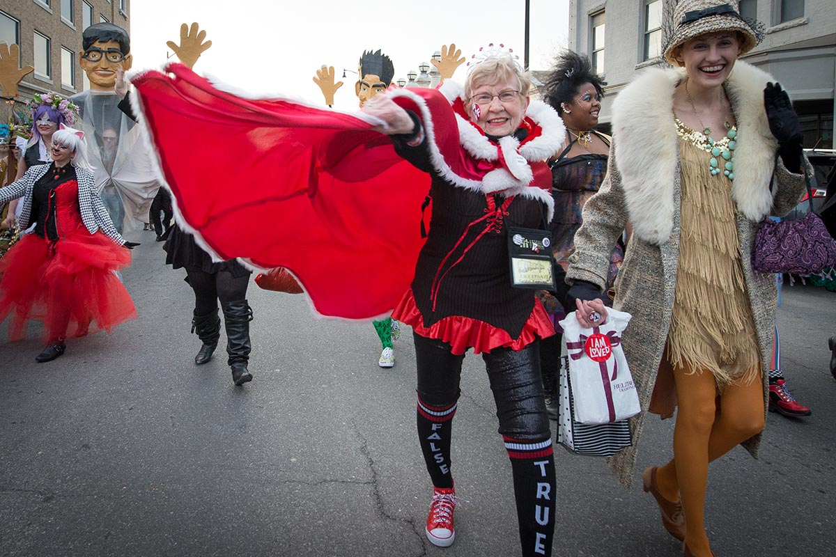 Carolyn Magnuson, queen of the Q, leads the March March Parade on Friday afternoon. Photo by Shane Epping.