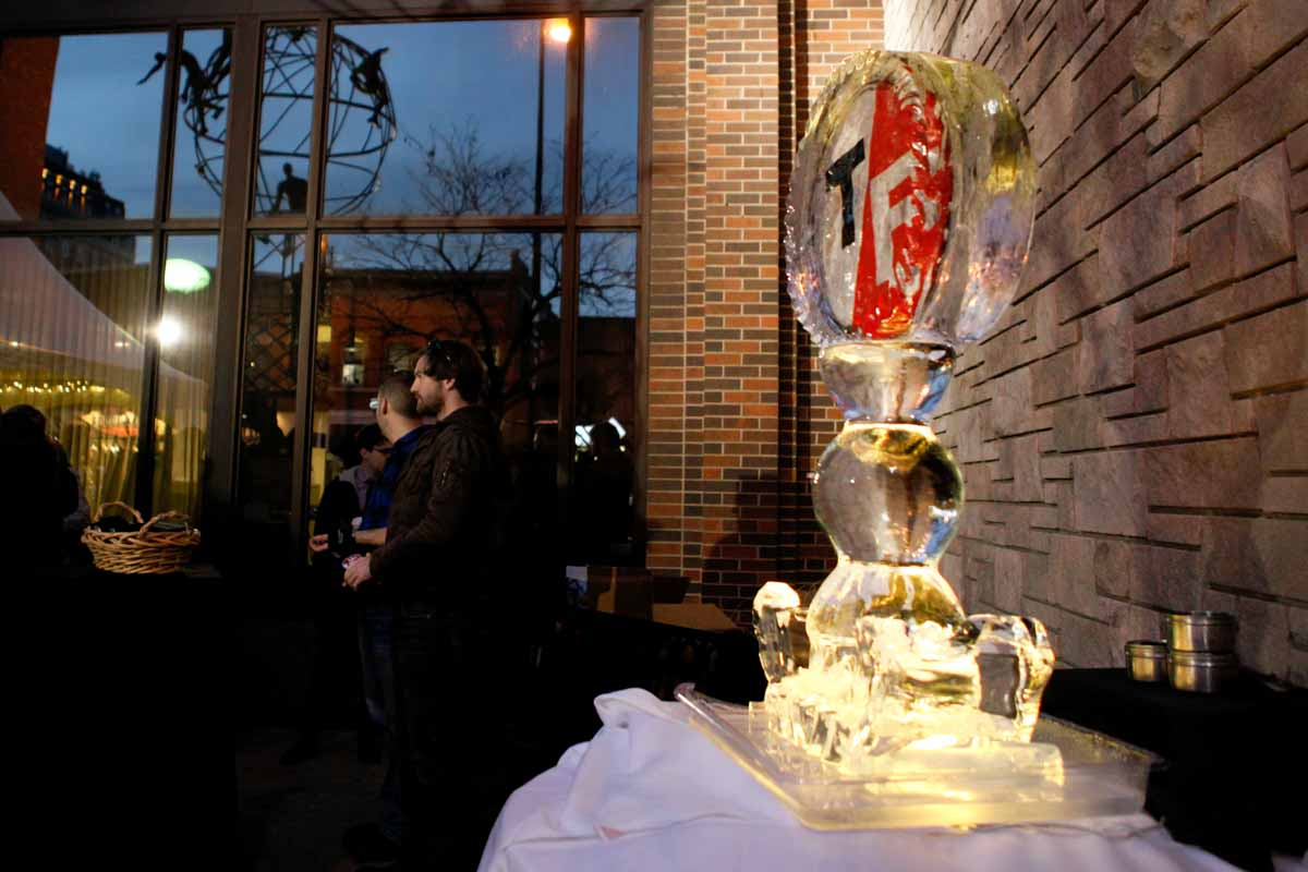 An ice sculpture endures warm temperatures in the Landmark Bank Courtyard at the Fired Up event where bands performed outside. Photo by Tanzi Propst.