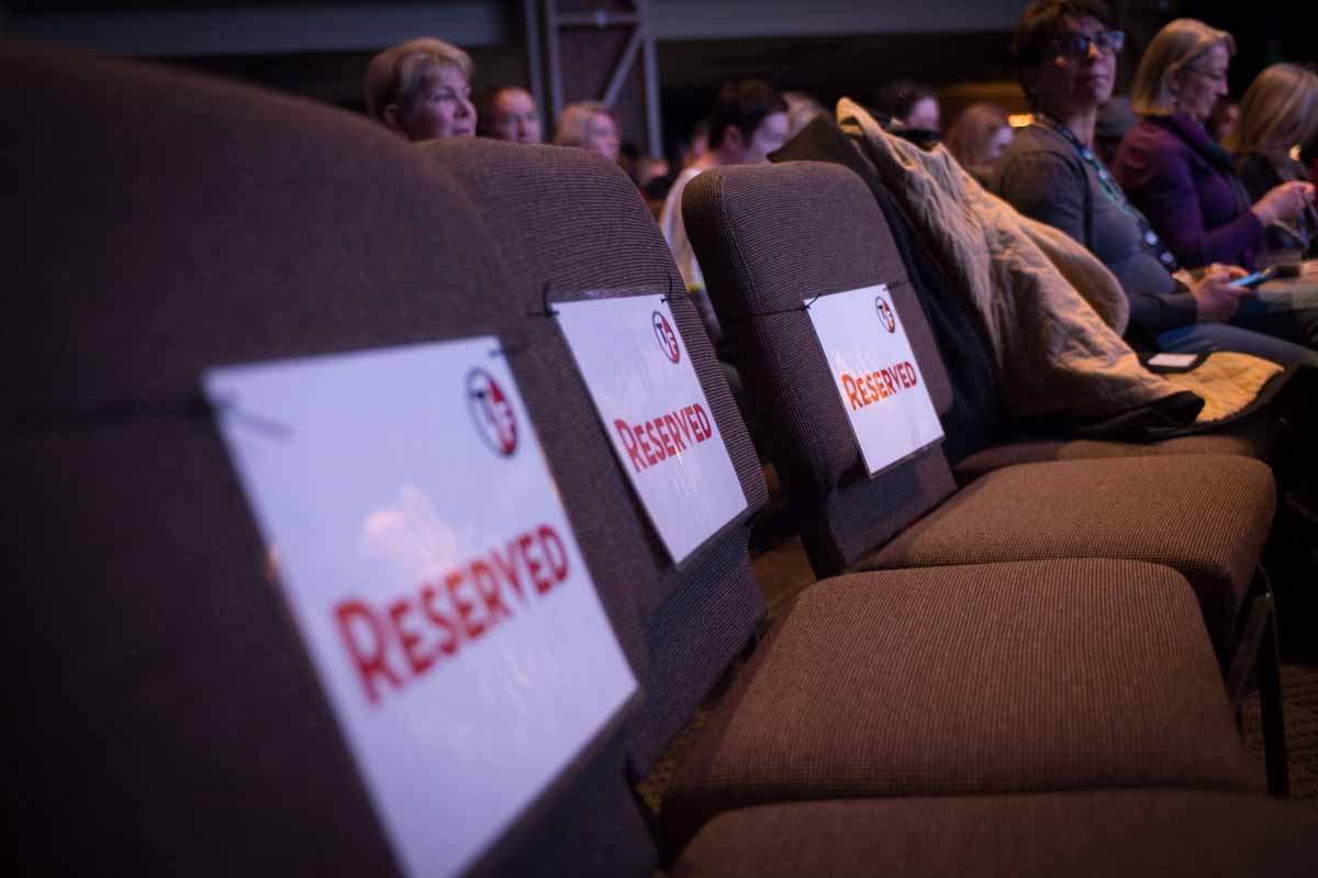 Reserved seats await warm bodies before a film at The Globe at the Presbyterian Church. Photo by Shane Epping