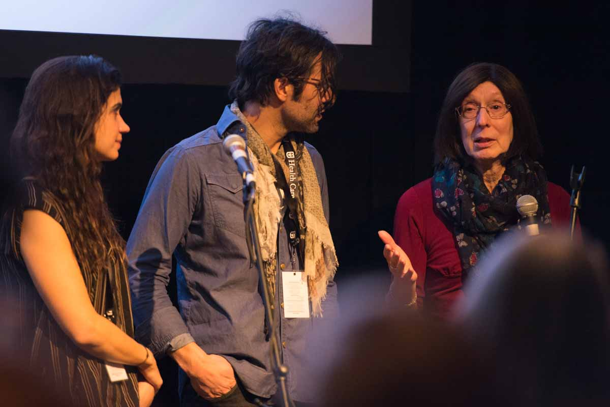 Directors Jessica Dimmock, Christopher LaMarca, and the one of their subjects, Amy, answer questions about the film, The Pearl. Photo by Shane Epping.