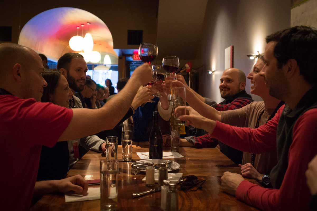 Film festival attendees wind down at Sycamore and toast to their weekend of experiences. Photo by Shane Epping.