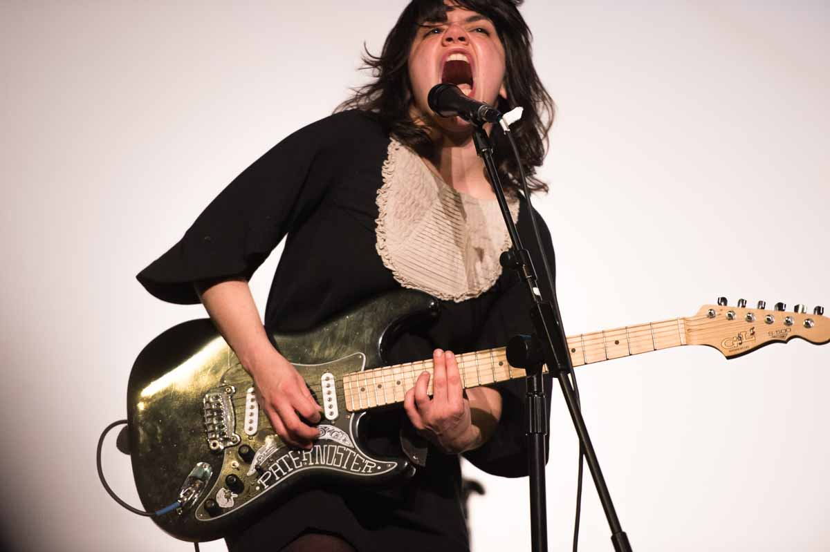 The Screaming Females perform before 'Sherpa' at the Missouri Theatre on Sunday night. Their signature art rock pulls from New Jersey's hardcore, emo and punk scenes. Photo by Shane Epping.