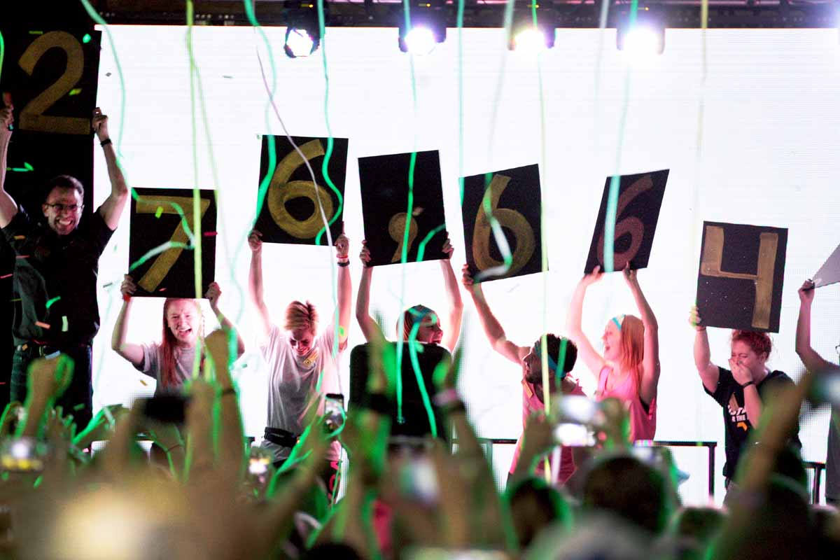 The final fundraising number is revealed by members of MizzouThon leadership as confetti falls over the dancers at the end of the main event Sunday, March 13, 2016. This year was another record-breaker for the largest student-run philanthropy on campus — raising $276,664.11.