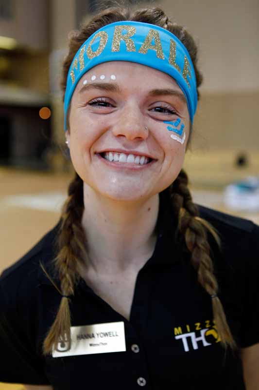 "Sophomore Hanna Yowell, external recruitment leadership member and morale captain, poses for a portrait before the main event on Saturday, March 12, 2016. ""Being a part of MizzouThon means the world to me,"" Yowell said. ""These people have become my family that I know I'll have long after graduation."""