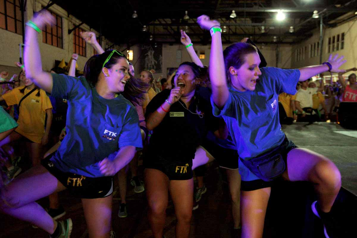 From left, Dylan Perrone, Katherine Fraley and Rachel Richardson Zumba it out in the front row during the main event.