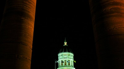 Jesse Dome is illuminated green for engineers week