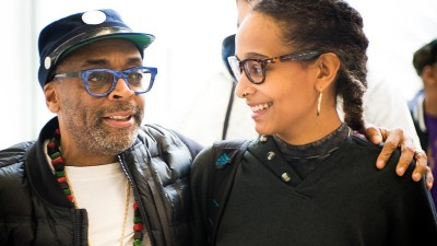 Spike Lee with a student.
