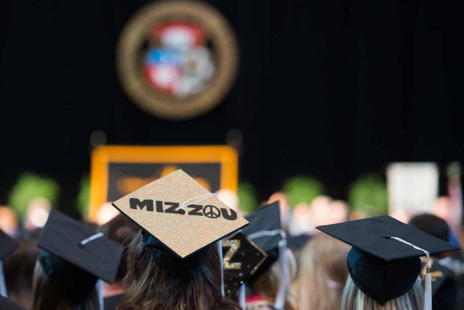 Mizzou gradautes keep the peace during commencement ceremonies. Photo by Shane Epping.