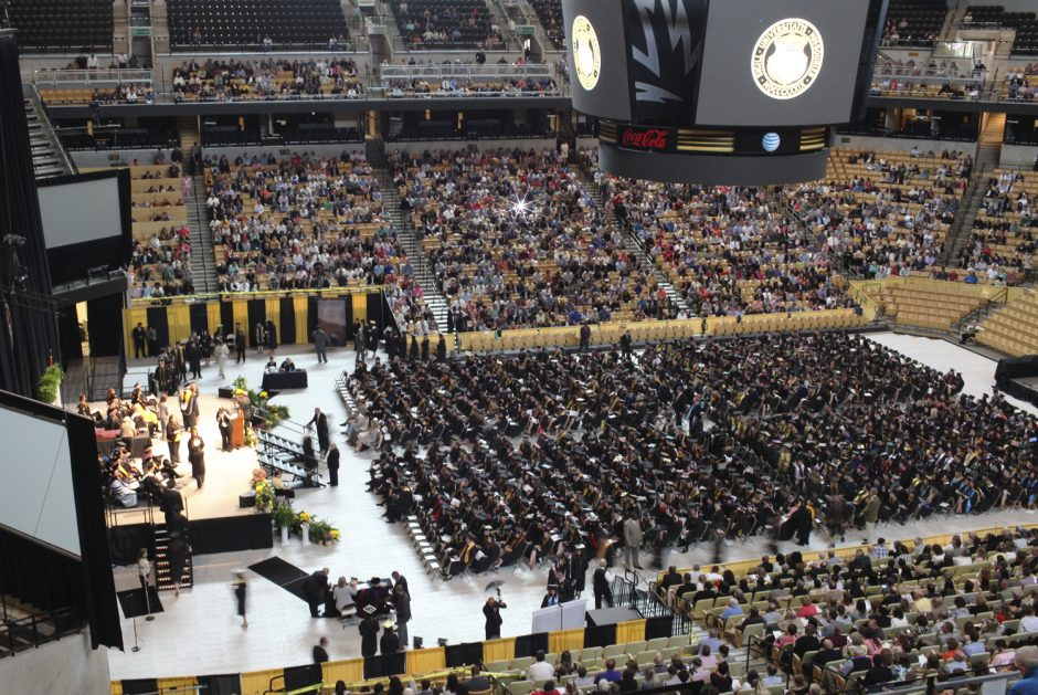 More than 1,400 Mizzou seniors graduated with academic distinction during the Honors Convocations Saturday morning at Mizzou Arena. Photo by Rob Hill