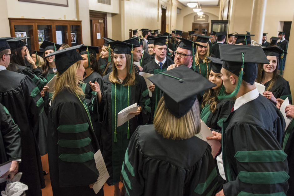 MU School of Medicine's Class of 2016 congregate in Jesse Hall before their commencement ceremony. Photo by Justin Kelley