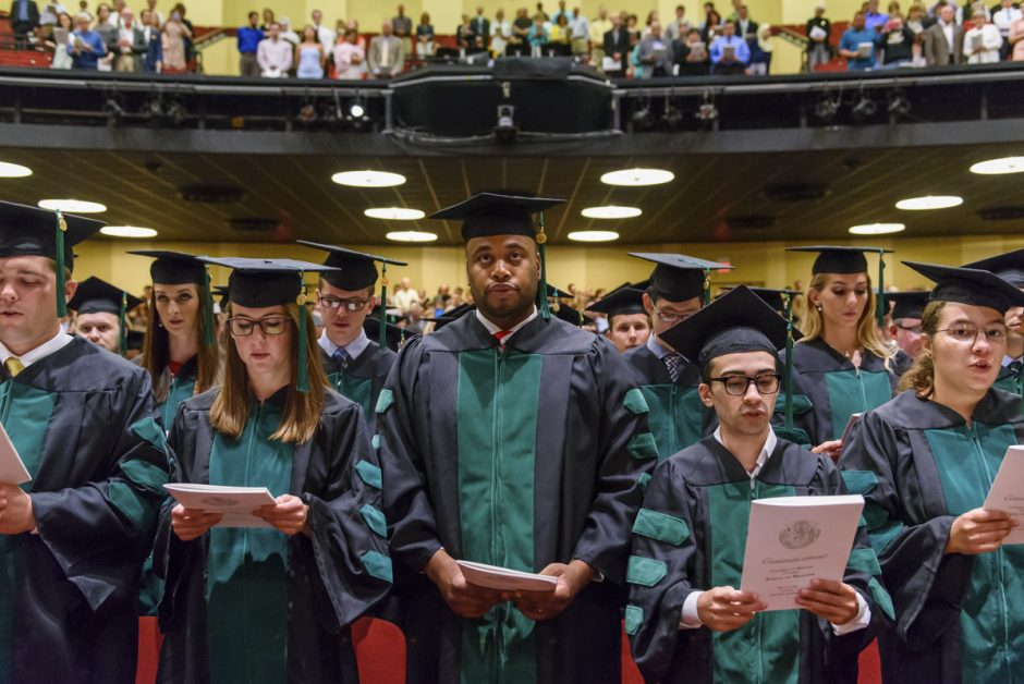 members of MU School of Medicine Class of 2016 look on during their commencement ceremony in Jesse Auditorium. Photo by Justin Kelley