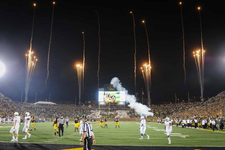 Fireworks light up the sky after a Mizzou touchdown.