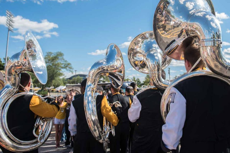 Marching Mizzou stayed busy throughout the day, beginning their performances outside of the stadium for fans.