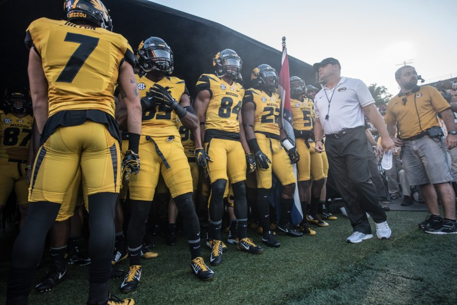 Mizzou Tigers get ready to leave the tunnel with Coach Barry Odom.