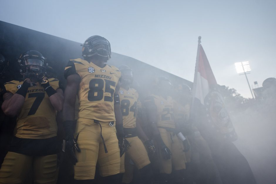The fog increases as the Mizzou Tigers get ready for their grand entrance.