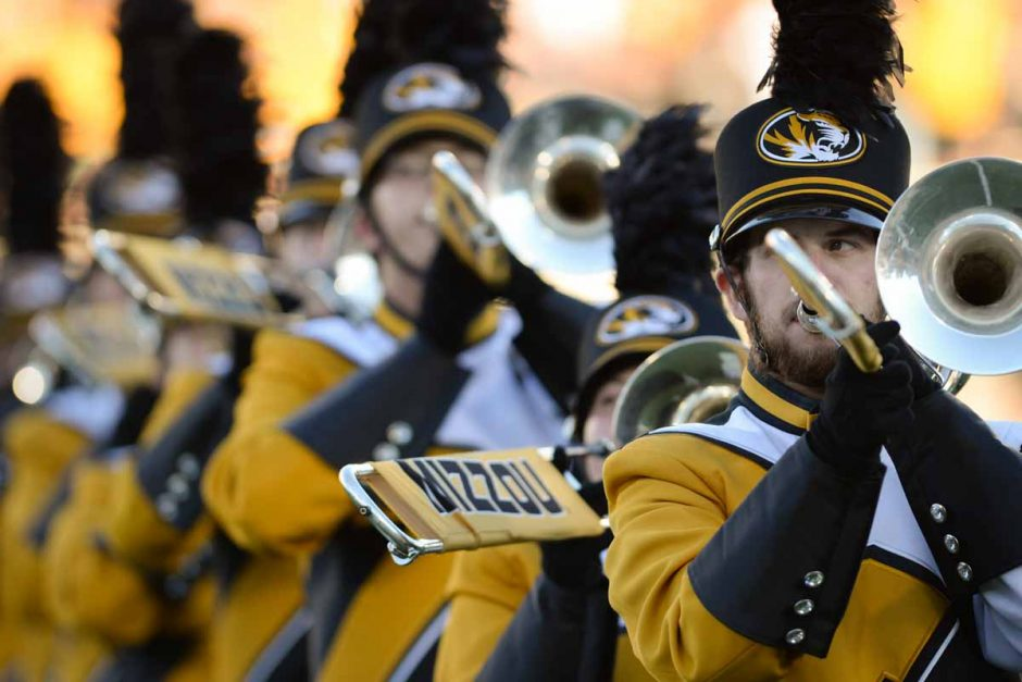 Marching Mizzou energizes the crowd with a pre-game performance.