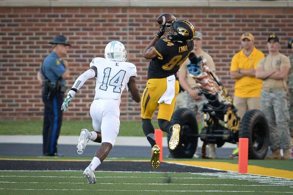 Sophomore wide receiver Emanuel Hall completes a 36-yard reception and scores Mizzou's first touchdown.