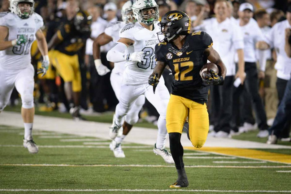 Freshman wide receiver Johnathon Johnson scores a touchdown after an 87-yard pass completion from Drew Lock to put the Tigers ahead 26-7.