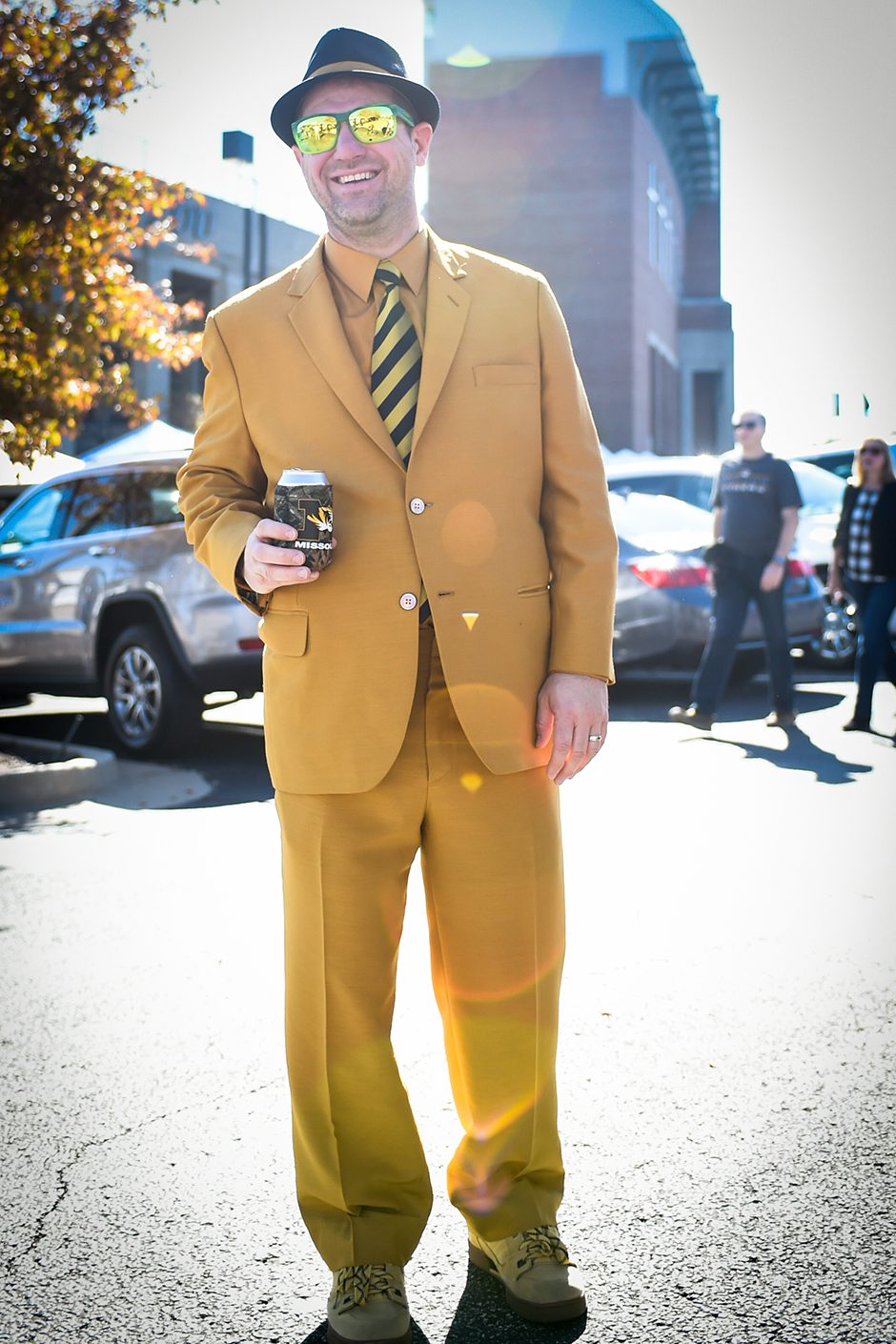 Art Hochthurn, a Mizzou fan from New Hampshire, suits up for the game. Photo by Shane Epping
