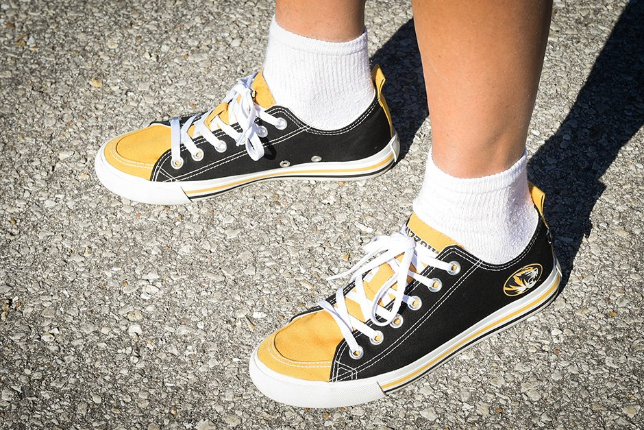 Linda Hackmann sports a custom pair of Mizzou shoes. Photo by Shane Epping
