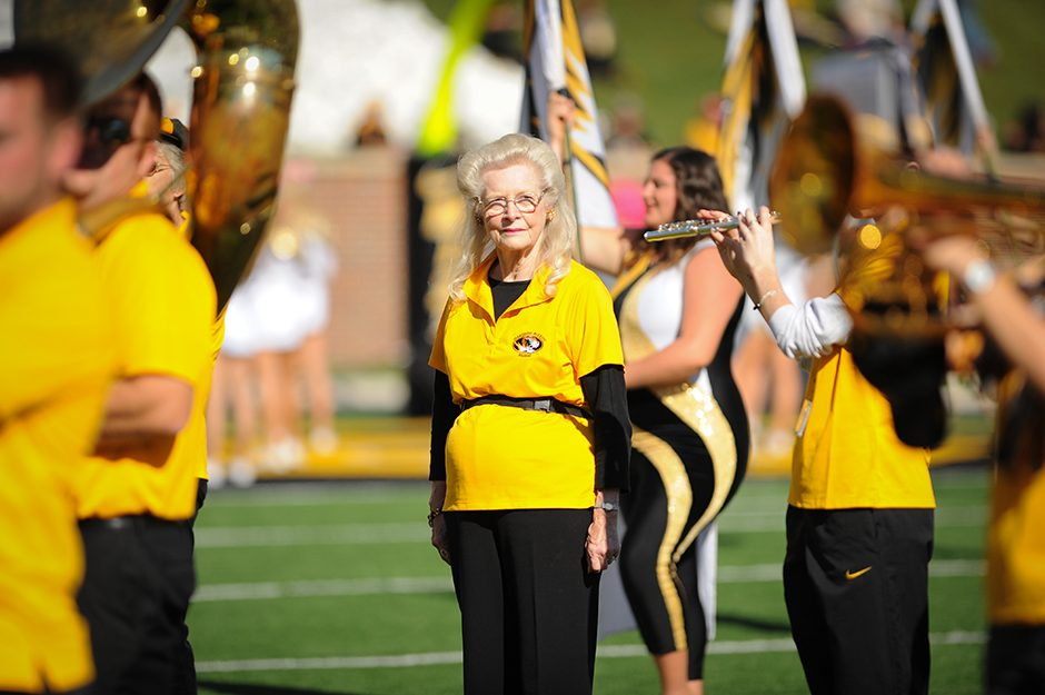 Alumni members of Marching Mizzou return to Faurot Field to perform as part of Homecoming festivities. Photo by Shane Epping.