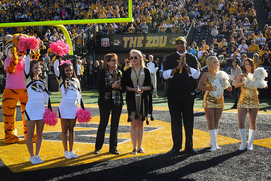 The Mizzou Alumni Association honors the inaugural alumni inductees of the Mizzou Homecoming Hall of fame: Linda Godwin and Kellen Winslow. Inductee David Novak was not present. Photo by Shane Epping.