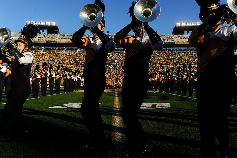 Members of Marching Mizzou perform during half-time. Photo by Shane Epping.