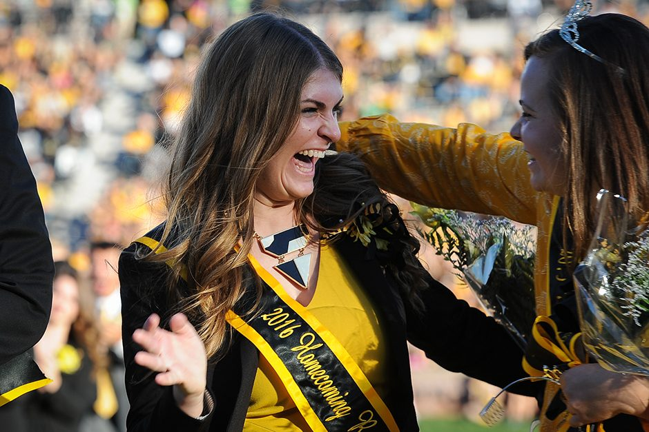 Alyssa Goldberg reacts to winning this year's Homecoming Queen honor. Photo by Shane Epping.